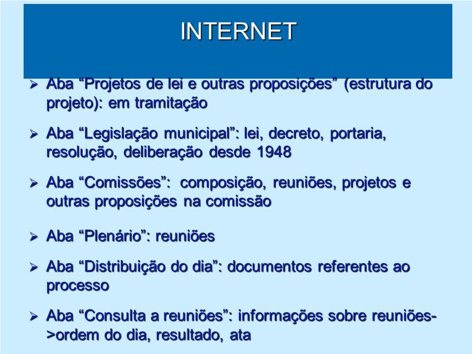 INTERNET Aba Projetos de lei e outras proposições (estrutura do projeto): em tramitação.