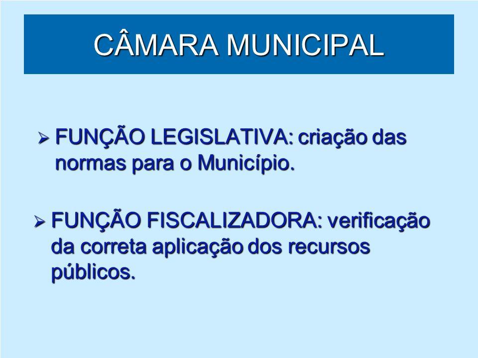 CÂMARA MUNICIPAL FUNÇÃO LEGISLATIVA: criação das normas para o Município.
