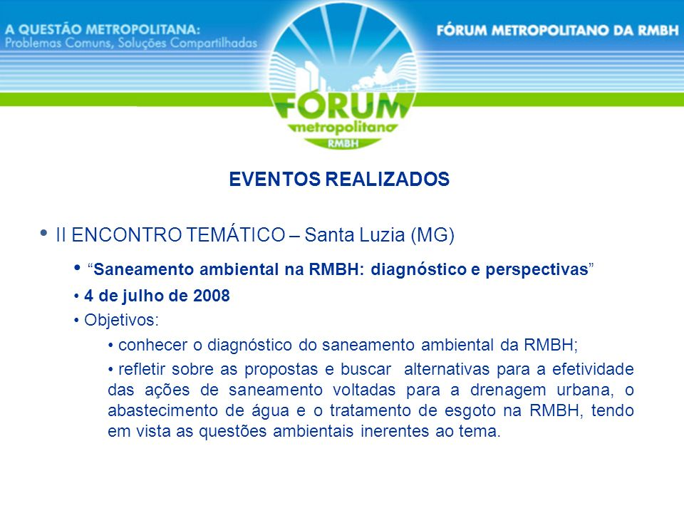 II ENCONTRO TEMÁTICO – Santa Luzia (MG)