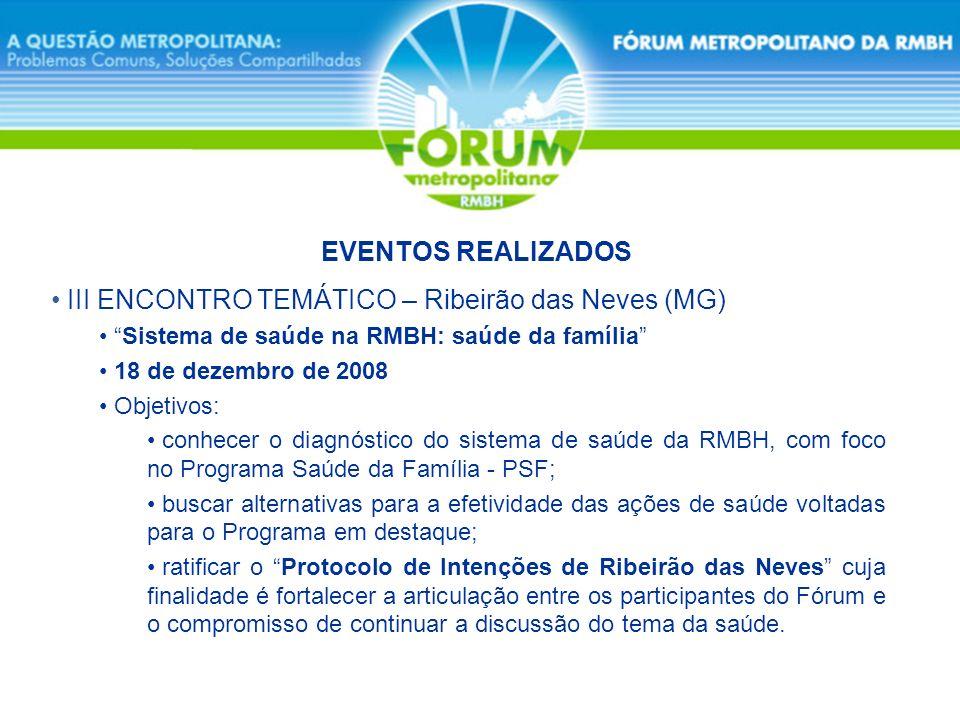 III ENCONTRO TEMÁTICO – Ribeirão das Neves (MG) EVENTOS REALIZADOS