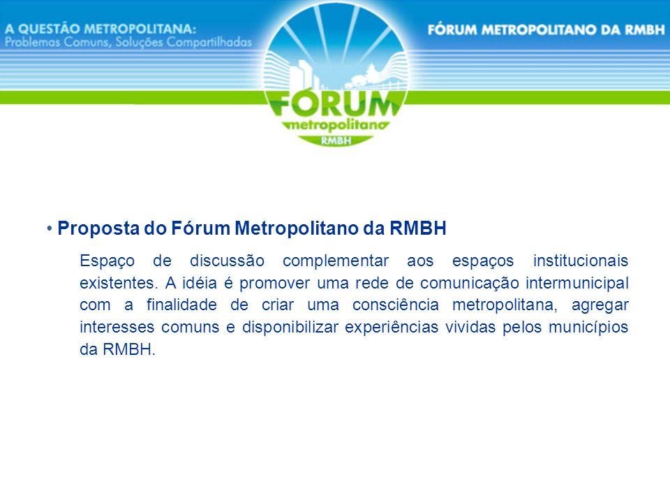 Proposta do Fórum Metropolitano da RMBH