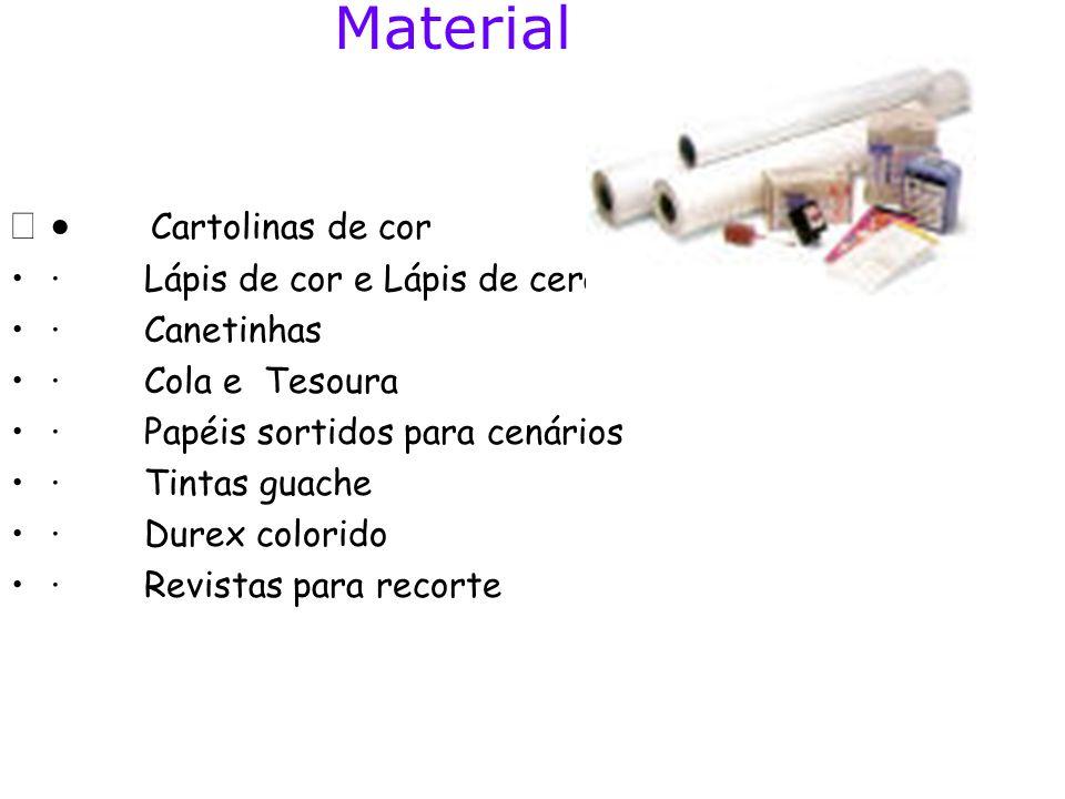 Material · Cartolinas de cor · Lápis de cor e Lápis de cera