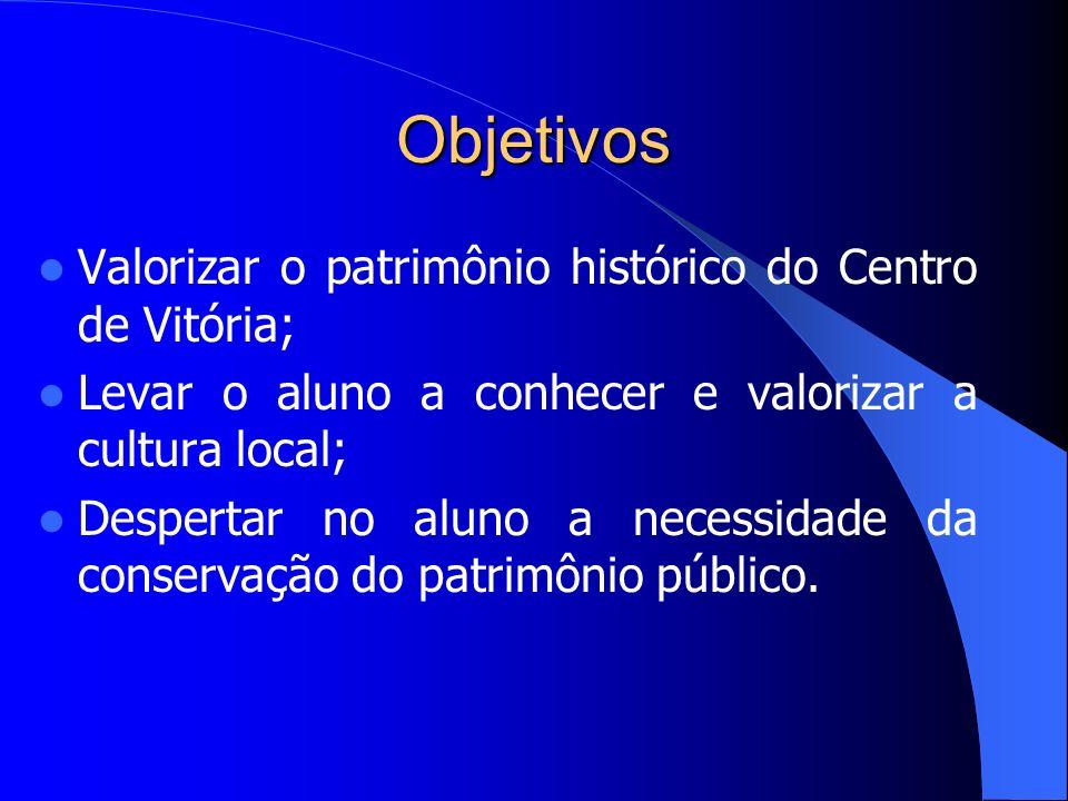 Objetivos Valorizar o patrimônio histórico do Centro de Vitória;