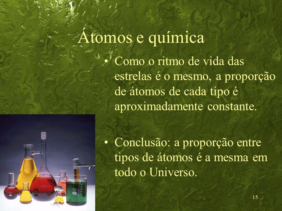 Átomos e química Como o ritmo de vida das estrelas é o mesmo, a proporção de átomos de cada tipo é aproximadamente constante.