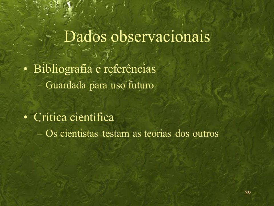 Dados observacionais Bibliografia e referências Crítica científica