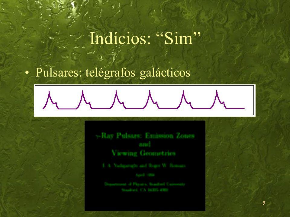 Indícios: Sim Pulsares: telégrafos galácticos
