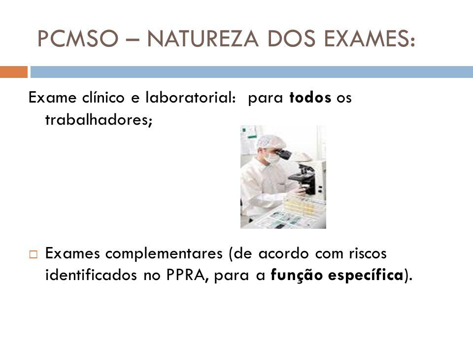 PCMSO – NATUREZA DOS EXAMES: