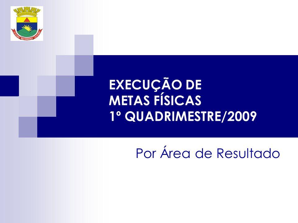 EXECUÇÃO DE METAS FÍSICAS 1º QUADRIMESTRE/2009