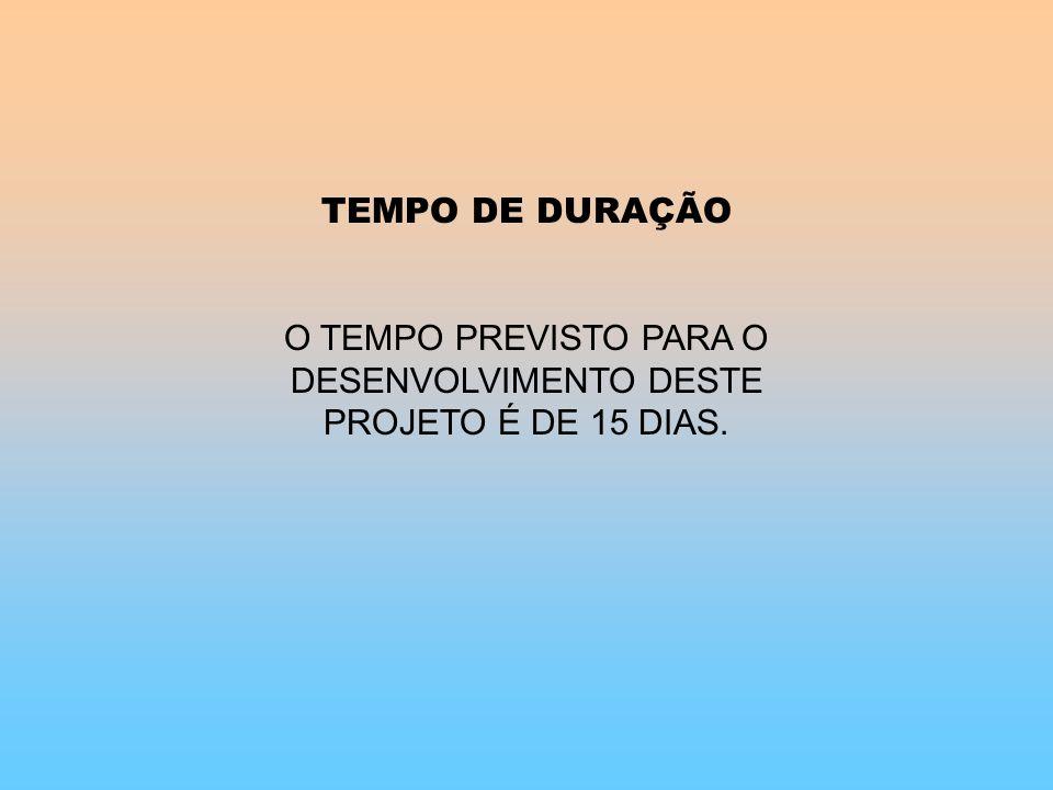 O TEMPO PREVISTO PARA O DESENVOLVIMENTO DESTE PROJETO É DE 15 DIAS.