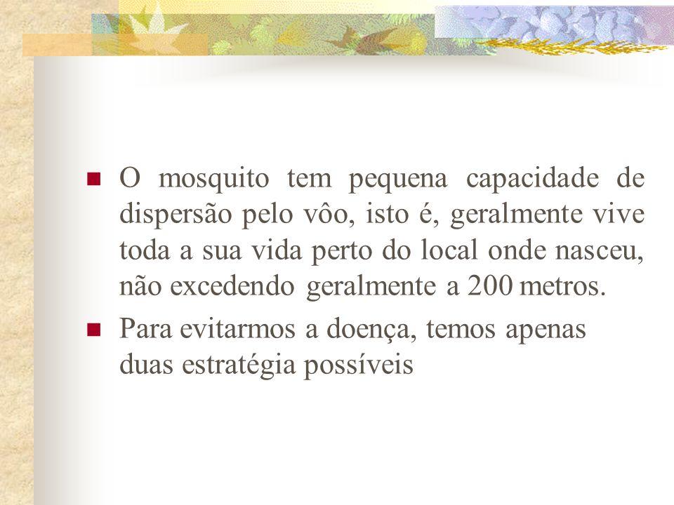 O mosquito tem pequena capacidade de dispersão pelo vôo, isto é, geralmente vive toda a sua vida perto do local onde nasceu, não excedendo geralmente a 200 metros.