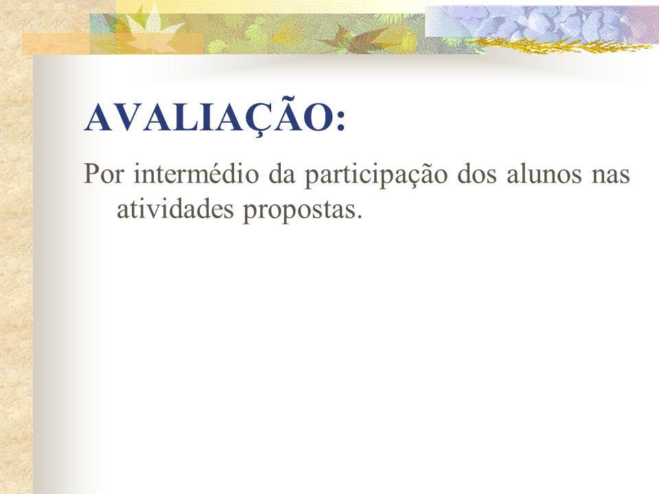 AVALIAÇÃO: Por intermédio da participação dos alunos nas atividades propostas.