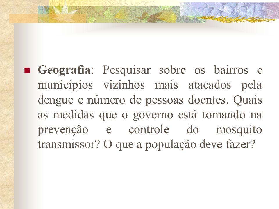 Geografia: Pesquisar sobre os bairros e municípios vizinhos mais atacados pela dengue e número de pessoas doentes.