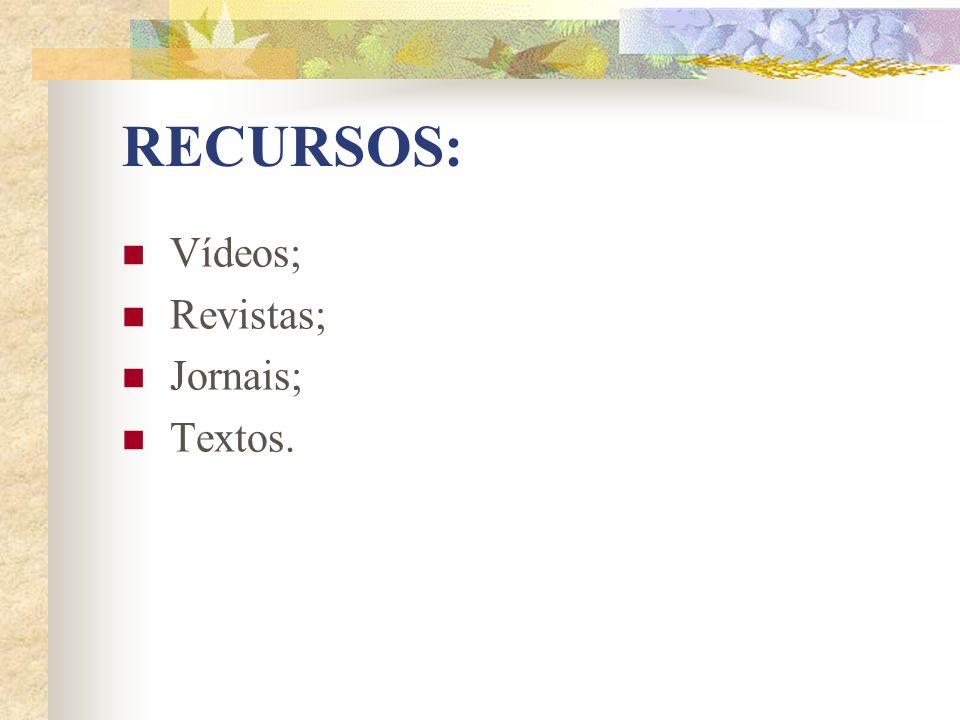 RECURSOS: Vídeos; Revistas; Jornais; Textos.
