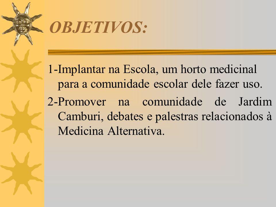 OBJETIVOS: 1-Implantar na Escola, um horto medicinal para a comunidade escolar dele fazer uso.