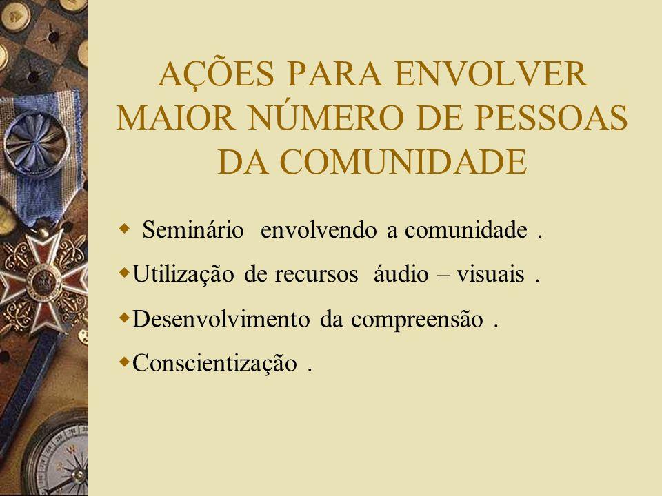 AÇÕES PARA ENVOLVER MAIOR NÚMERO DE PESSOAS DA COMUNIDADE