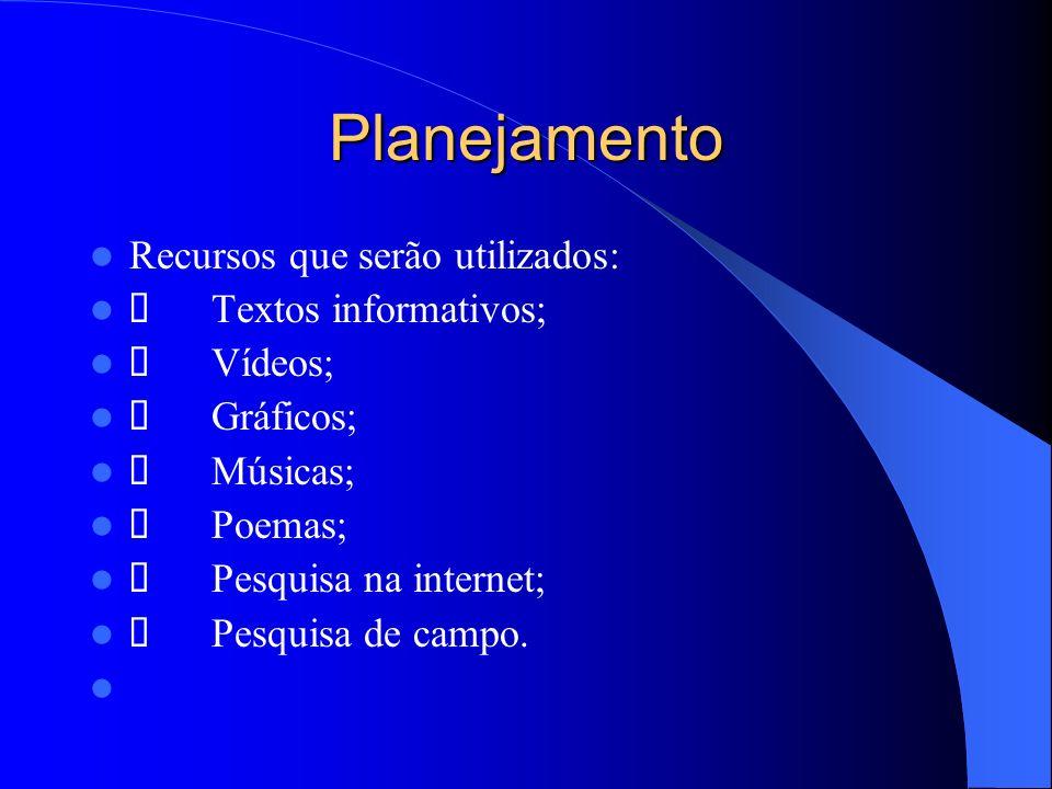 Planejamento Recursos que serão utilizados: Ø Textos informativos;