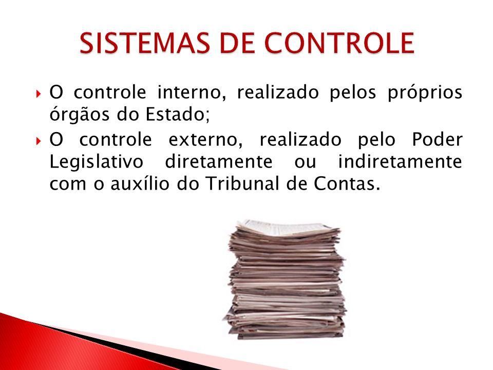 SISTEMAS DE CONTROLE O controle interno, realizado pelos próprios órgãos do Estado;