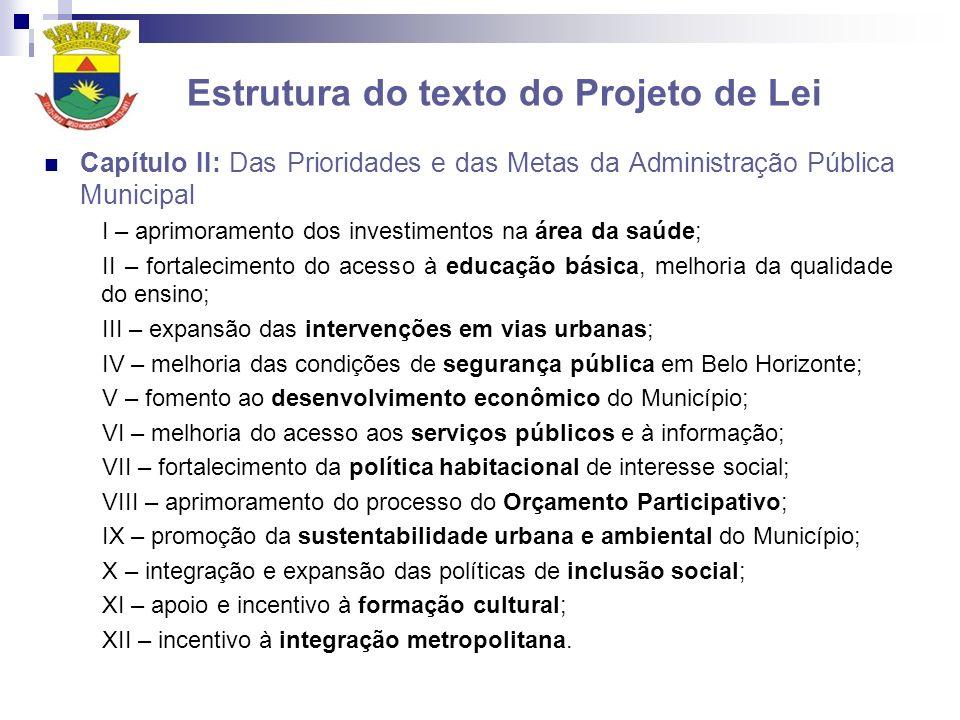 Estrutura do texto do Projeto de Lei