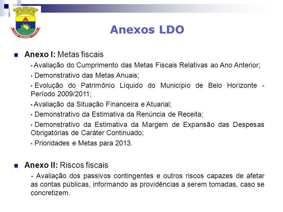 Anexos LDO Anexo I: Metas fiscais Anexo II: Riscos fiscais