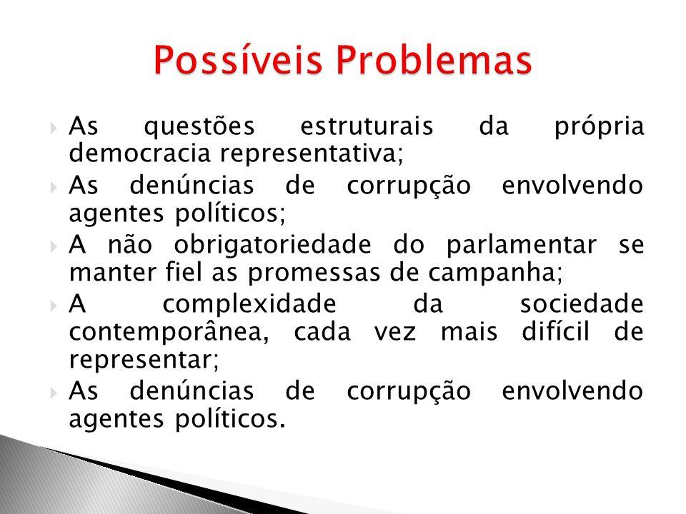 Possíveis Problemas As questões estruturais da própria democracia representativa; As denúncias de corrupção envolvendo agentes políticos;