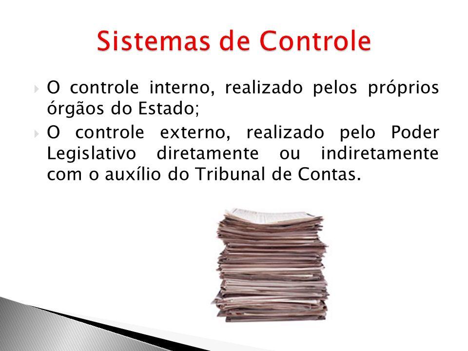 Sistemas de ControleO controle interno, realizado pelos próprios órgãos do Estado;