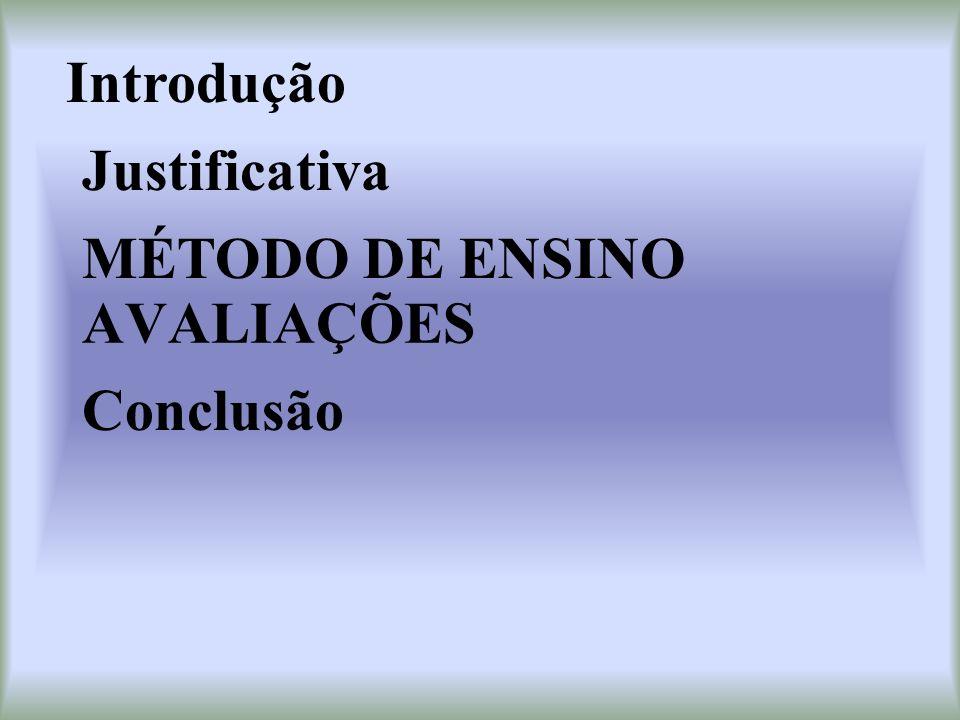 Introdução Justificativa MÉTODO DE ENSINO AVALIAÇÕES Conclusão
