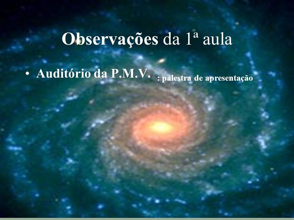 Observações da 1ª aula Auditório da P.M.V. : palestra de apresentação