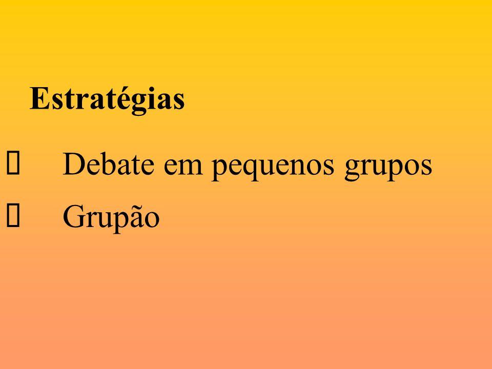 Estratégias Ø Debate em pequenos grupos Ø Grupão