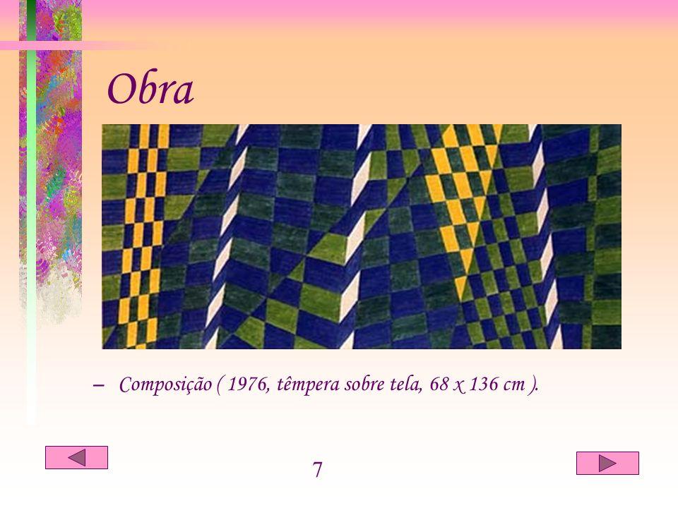 Obra Composição ( 1976, têmpera sobre tela, 68 x 136 cm ). 7