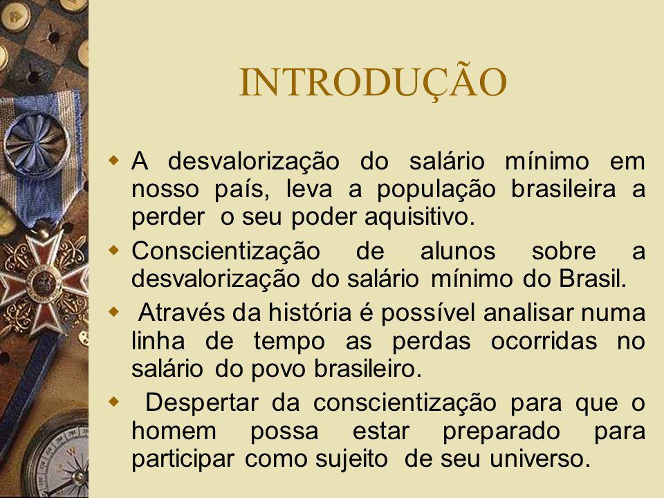 INTRODUÇÃO A desvalorização do salário mínimo em nosso país, leva a população brasileira a perder o seu poder aquisitivo.