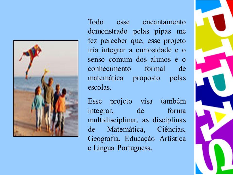 Todo esse encantamento demonstrado pelas pipas me fez perceber que, esse projeto iria integrar a curiosidade e o senso comum dos alunos e o conhecimento formal de matemática proposto pelas escolas.