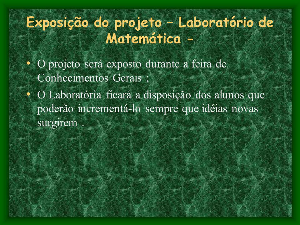 Exposição do projeto – Laboratório de Matemática -