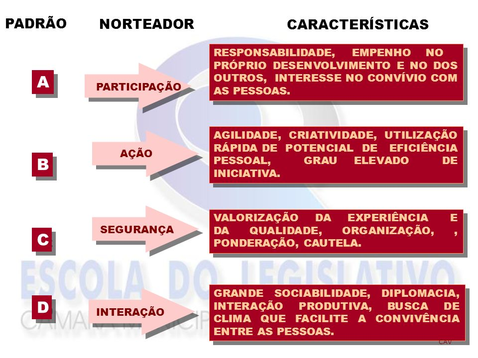 A B C D PADRÃO NORTEADOR CARACTERÍSTICAS RESPONSABILIDADE, EMPENHO NO