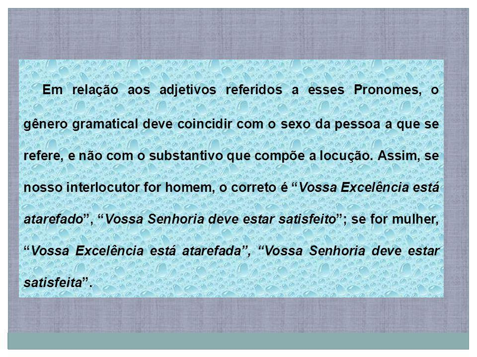 Em relação aos adjetivos referidos a esses Pronomes, o gênero gramatical deve coincidir com o sexo da pessoa a que se refere, e não com o substantivo que compõe a locução.
