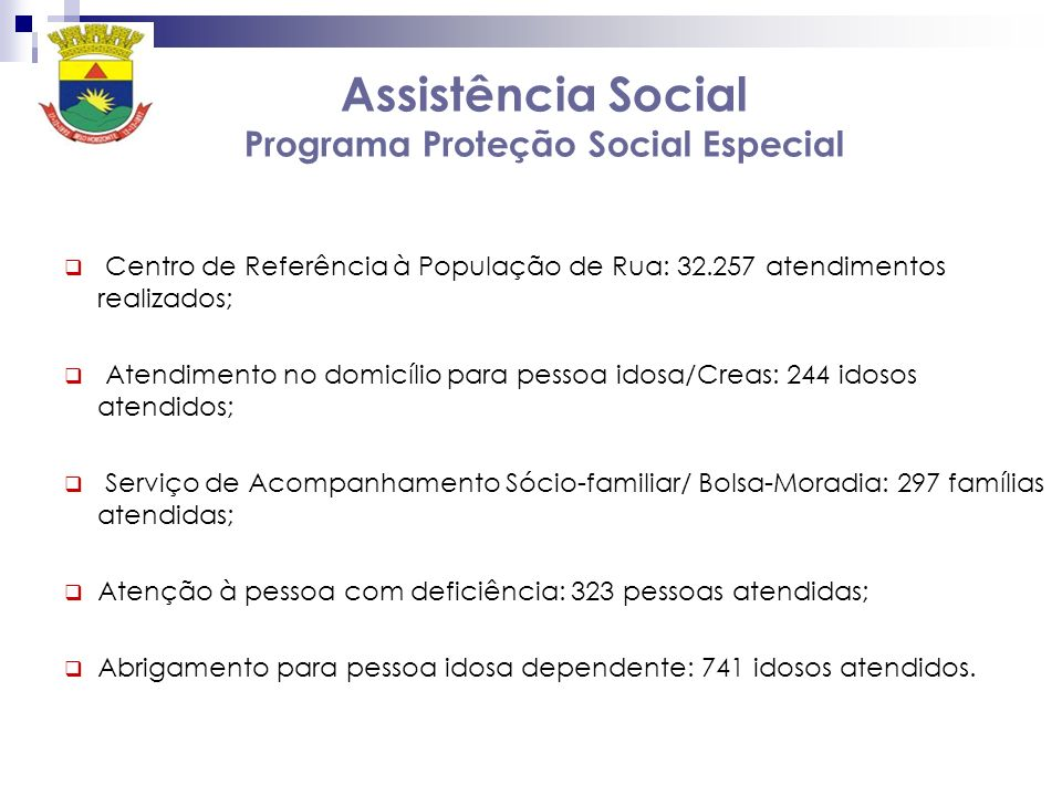 Assistência Social Programa Proteção Social Especial