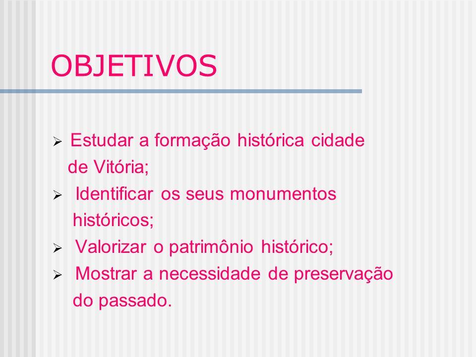 OBJETIVOS Estudar a formação histórica cidade de Vitória;