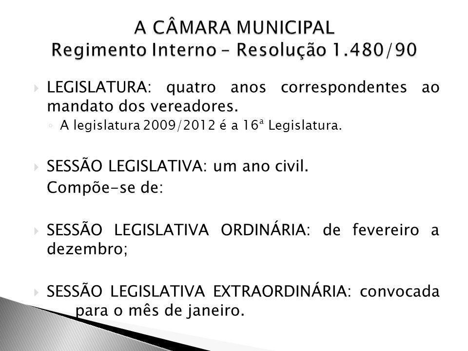 A CÂMARA MUNICIPAL Regimento Interno – Resolução 1.480/90