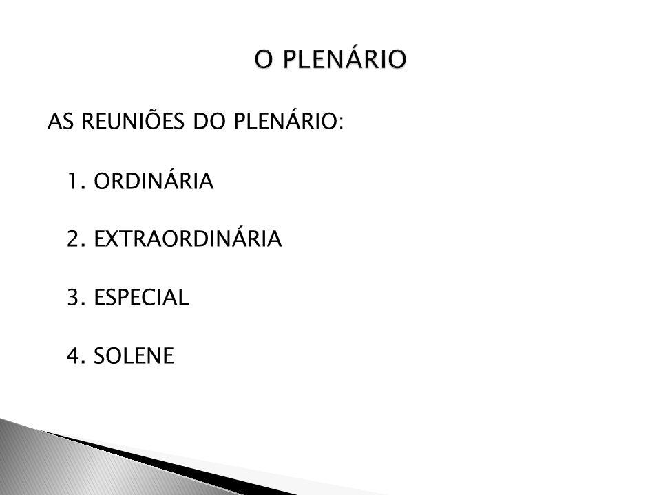 O PLENÁRIO AS REUNIÕES DO PLENÁRIO: 1. ORDINÁRIA 2. EXTRAORDINÁRIA 3. ESPECIAL 4. SOLENE