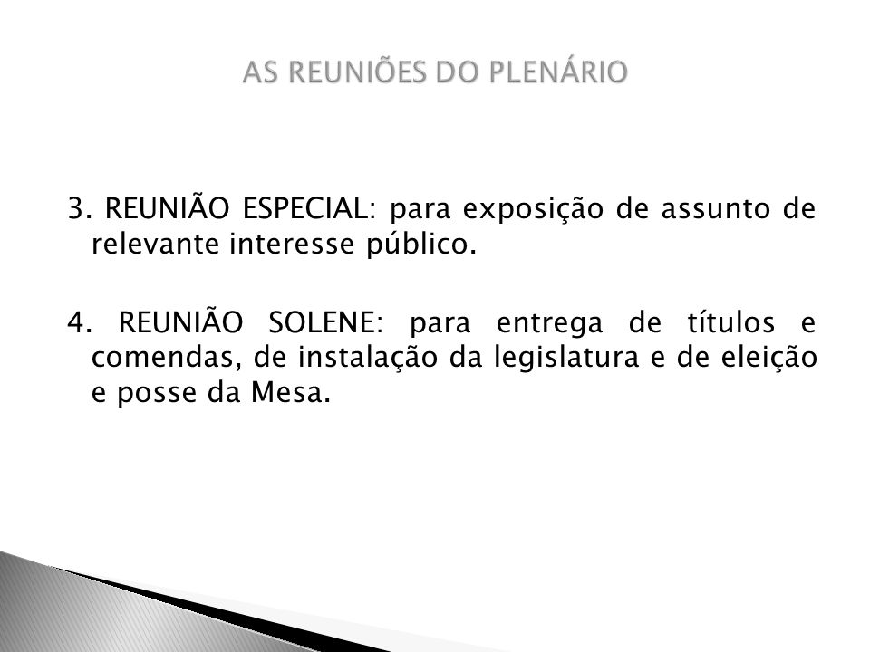 AS REUNIÕES DO PLENÁRIO