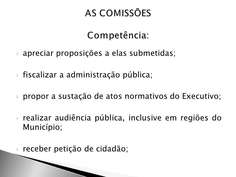 AS COMISSÕES Competência: