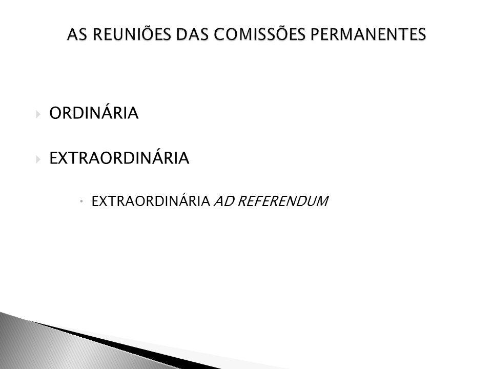 AS REUNIÕES DAS COMISSÕES PERMANENTES