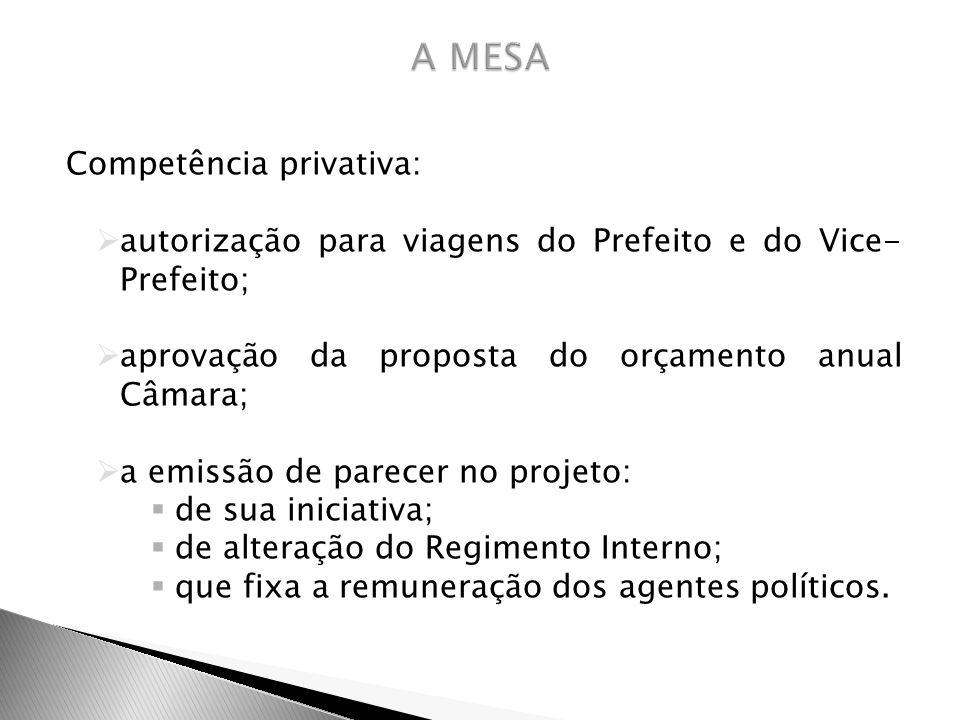 A MESA Competência privativa: