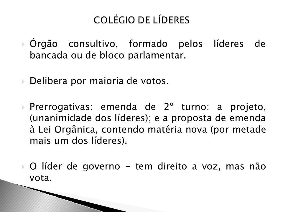 COLÉGIO DE LÍDERES Órgão consultivo, formado pelos líderes de bancada ou de bloco parlamentar. Delibera por maioria de votos.