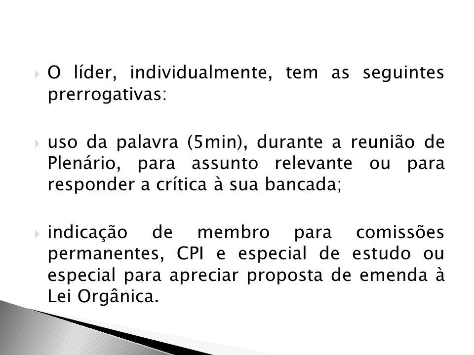 O líder, individualmente, tem as seguintes prerrogativas: