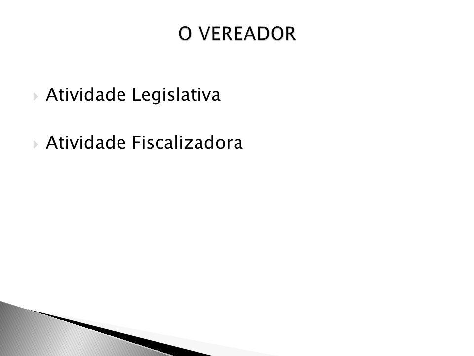 O VEREADOR Atividade Legislativa Atividade Fiscalizadora