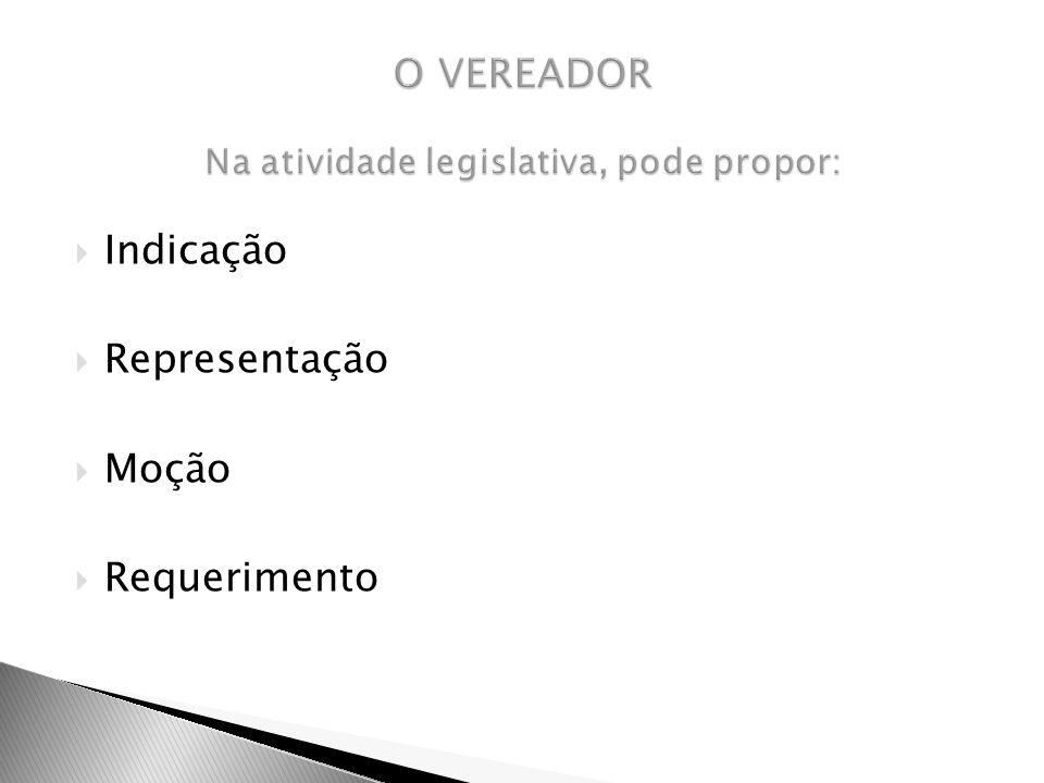 O VEREADOR Na atividade legislativa, pode propor: