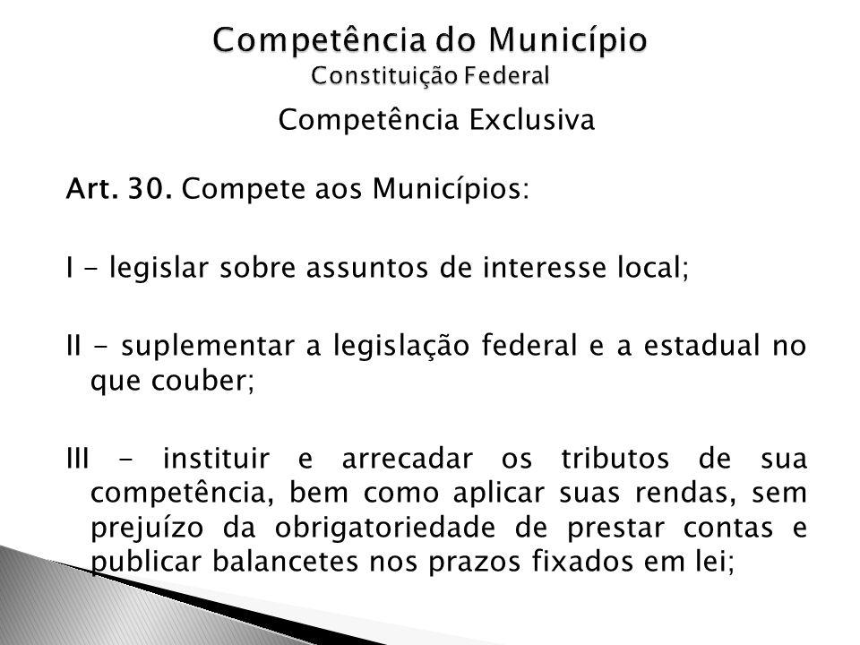 Competência do Município Constituição Federal