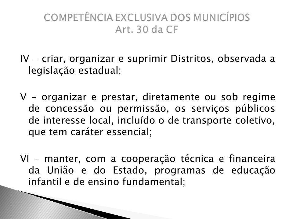 COMPETÊNCIA EXCLUSIVA DOS MUNICÍPIOS Art. 30 da CF