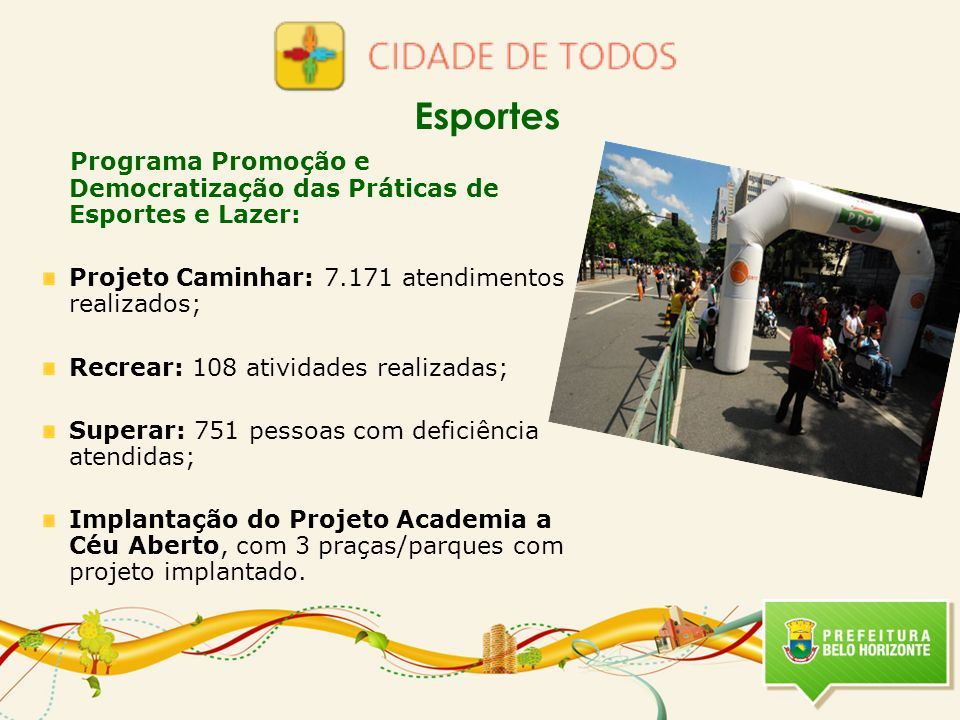 Esportes Programa Promoção e Democratização das Práticas de Esportes e Lazer: Projeto Caminhar: 7.171 atendimentos realizados;