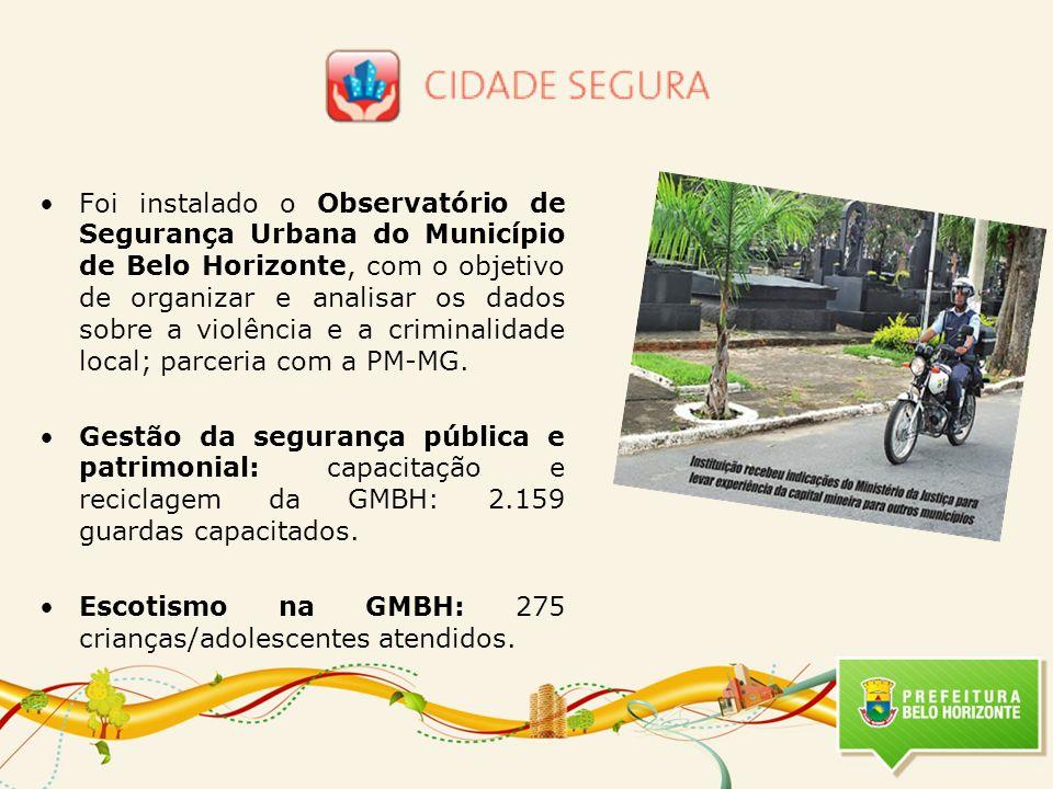 Foi instalado o Observatório de Segurança Urbana do Município de Belo Horizonte, com o objetivo de organizar e analisar os dados sobre a violência e a criminalidade local; parceria com a PM-MG.